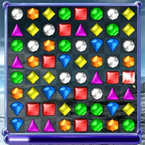 Screen shot of Bejeweled showing the different shapes of colored jewels