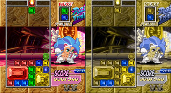 Screenshot of Puzzle Fighter with color blindness comparison